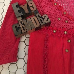 FREE PEOPLE Crochet Brass Studded Gypsy Top