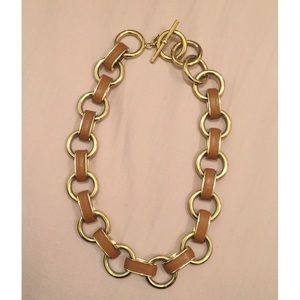 Banana Republic Tan Faux Leather Link Necklace