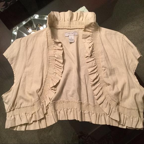 Jamie Nicole Collection Jackets & Blazers - Off-white Linen Shrug w/ Ruffle Detail