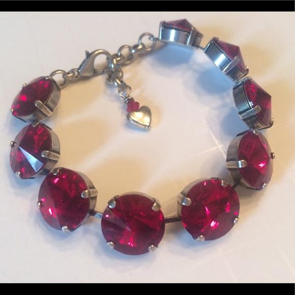 14mm Swarovski Crystals Elements Bracelet Siam Red cc35fd3f0
