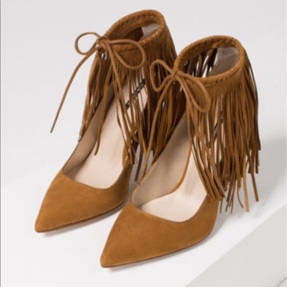 61 zara shoes zara fringe suede pointed pumps heel