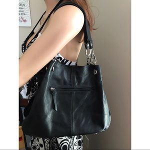 made in Italy Handbags - Genuine Black Leather Shoulder Bag