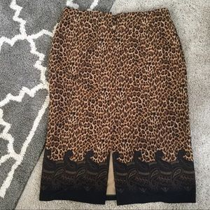 Leslie Fay Skirts - Leopard-Print Skirt w/ Paisley Border