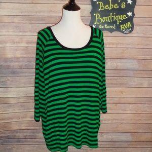 Michael Kors green and black stripe tunic size 3X