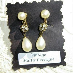 HATTIE CARNEGIE Pearl Rhinestone Drop Earrings
