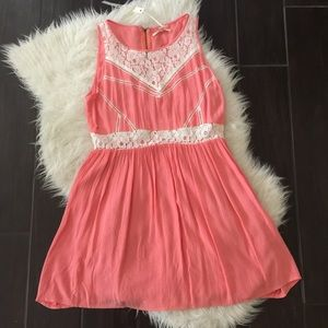 Dresses & Skirts - Coral lace dress. Coral pink dress. Lace dress.