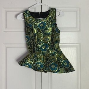 Tops - Asymmetrical Floral Peplum Top