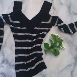 Sweaters - Silver Striped Cold Shoulder