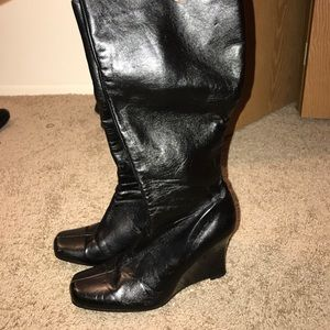 Shoes - Black faux leather wedge boots