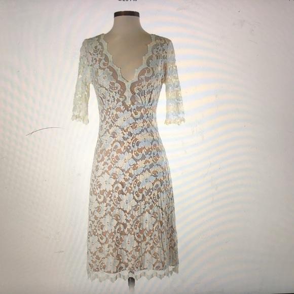 c3be7893d7 Karen Kane Dresses | Scalloped Lace Vneck Dress In Ivory | Poshmark
