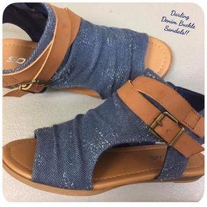 Soda Shoes - 💟Ruched Denim Sandals!! NWT