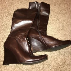 Shoes - Brown wedge boots