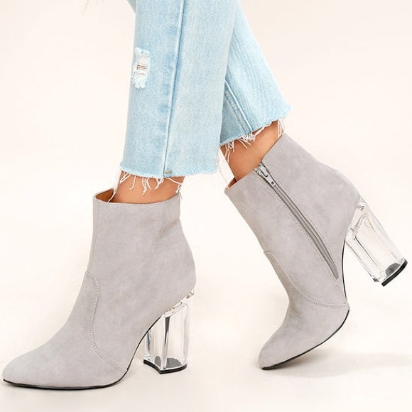 6a05073f1e1 Lucite Clear Heel Suede Ankle Bootie