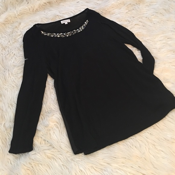 Joseph A Tops - Embellished Black Blouse