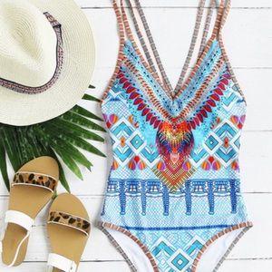 Tribal Print One Piece Swimsuit. Price Firm.