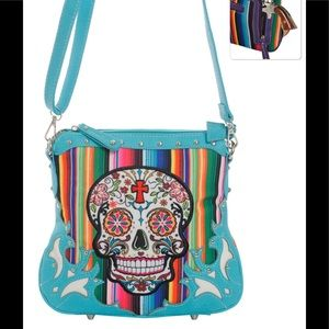 Handbags - Serape Sugar Skull Cross Body Purse Messenger Bag