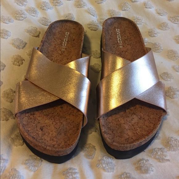 649877ac96d H M Shoes - H M Divided Rose Gold Platform Sandals