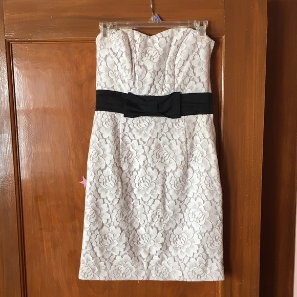 Hm Dresses New Strapless White Lace Dress With Black Bow Poshmark