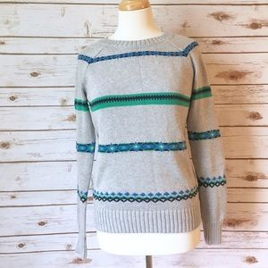 Old Navy Grey Fair Isle Crewneck Sweater