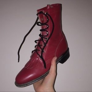 Justin Boots Shoes - Red combat Justin boots