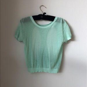 Silence & Noise Pastel mint green mesh crop top