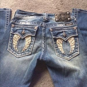 Miss Me angel Wing Distressed Boot cut jeans
