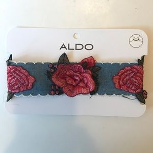 Denim rose embroidered choker