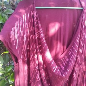 Burgundy dress with sequins