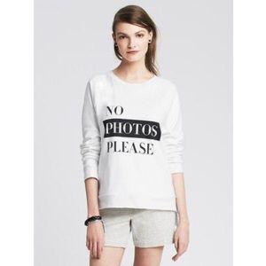 "banana republic ""no photos please"" graphic sweater"