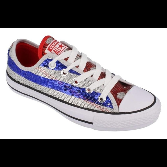 276efb09b6fe40 Sequin Converse Size 8. Red white   blue.