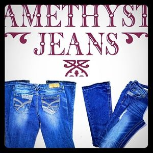 Amethyst Jeans Denim - Amethyst Juniors Mid Rise Distressed Flare Jeans