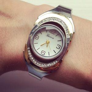 Silver & gold tone rhinestone Geneva cuff watch