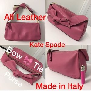 Kate Spade pink bow tie strap leather purse
