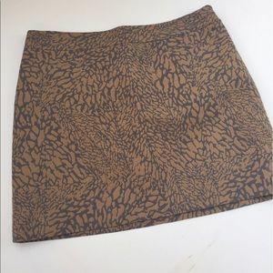 LOFT Tan and Grey Printed Skirt