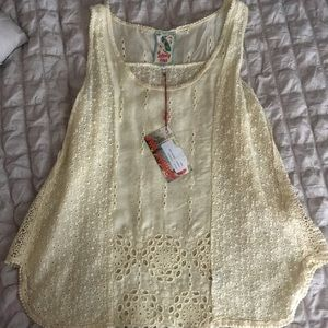 Johnny Was Tops - NWT Johnny Was Saige Eyelet Tank Yellow Large L