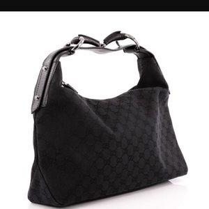 Black Gucci Horsebit Hobo handbag
