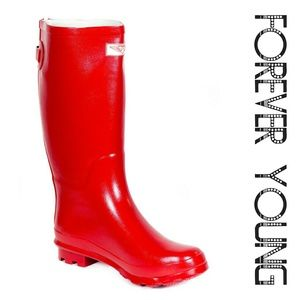 Forever Young  Shoes - Women Knee High Zipper Rainboots, #1412, Red