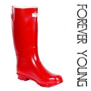 Women Knee High Zipper Rainboots, #1412, Red