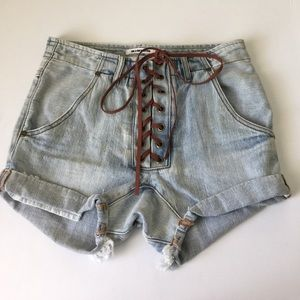 One Teaspoon Super Freaks Laceup Shorts, 26