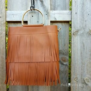Two-piece Realer Hoop Handle Fringe Handbag Set