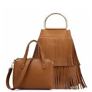 Realer Bags - Two-piece Realer Hoop Handle Fringe Handbag Set