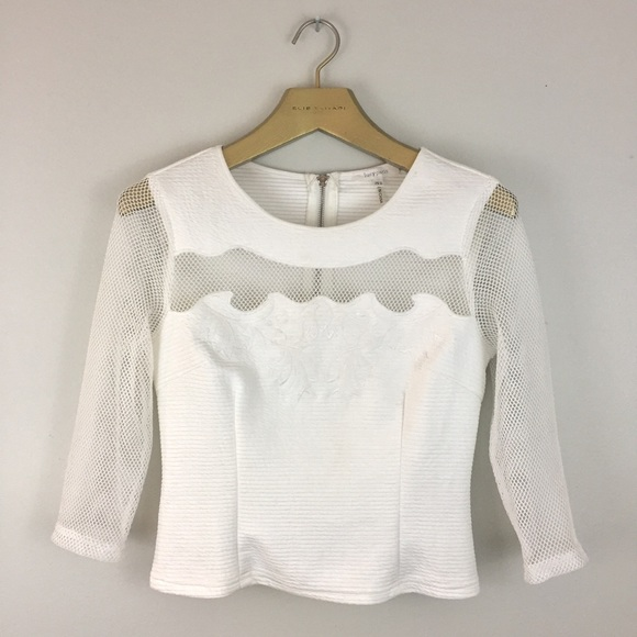 0d5b7fd4762469 Lucy Paris Tops - LUCY PARIS White Floral Embroidered Mesh Crop Top