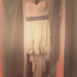 White high-low strapless dress with sequin band
