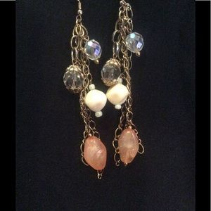 Crystal and gem dangle drop earrings