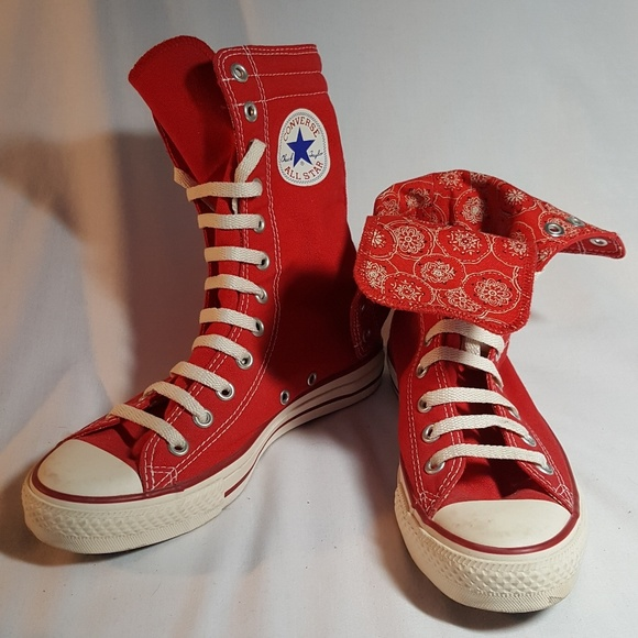 c496745db1ee Converse Shoes - Converse Extra-High Top Red with Bandana Interior