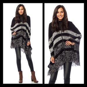 Sweaters - Hooded Zip-Up Fringe Poncho