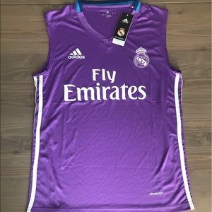 Real Madrid short sleeve adidas soccer purple