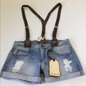 Frankie B. Pants - Frankie B. City Slicker Suspender Shorts, 26 NWT