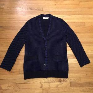 Tory Burch blue wool cardigan sweater - Small