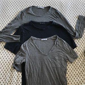 T by Alexander Wang Tops - T by Alexander wang XS shirt lot gray navy long